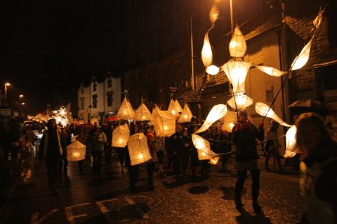 Lantern Procession celebrating Bentham Primary School Re-location