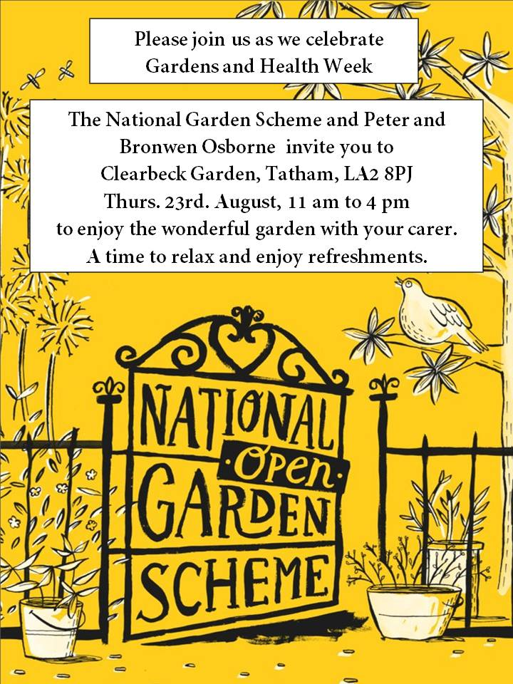 Clearbeck Open Gardens come and Enjoy with your Carer